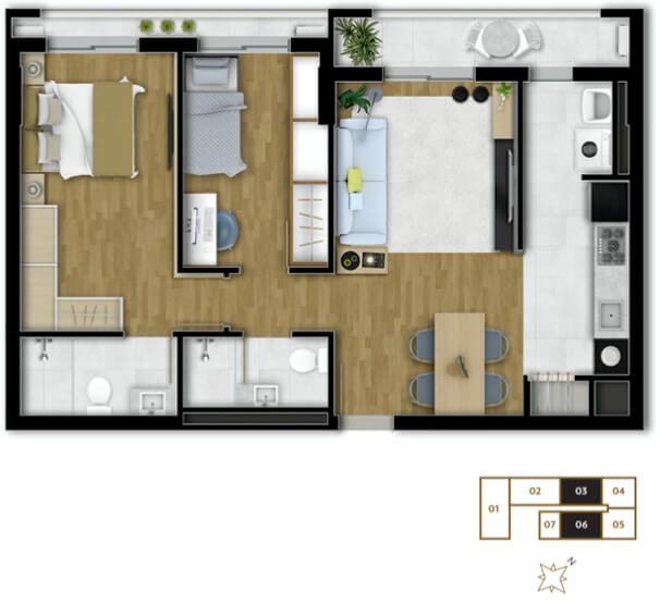 Art Home Work Apartamento 2 Dormitórios
