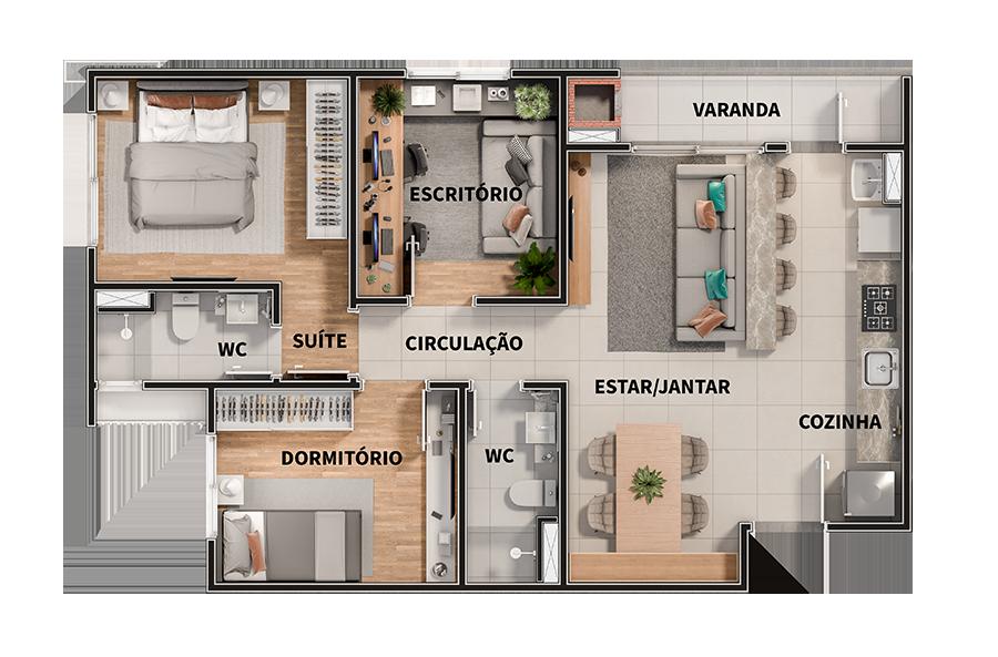 3 dormitórios - 70,99m²