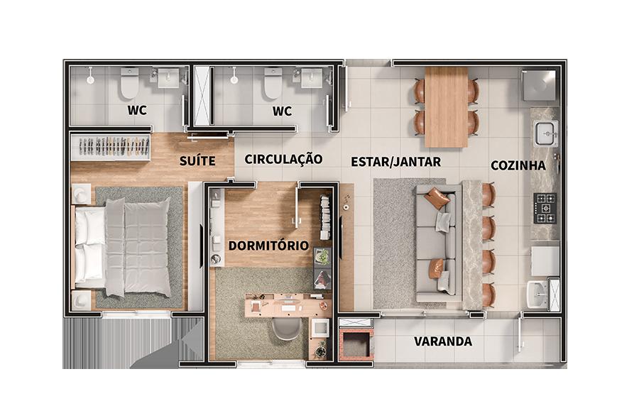 2 dormitórios - 60,08m²